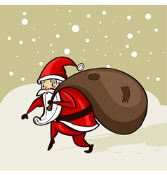 Santa sneaking in the snow vector image vector image