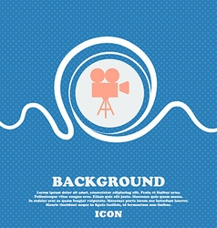 Video camera icon sign Blue and white abstract vector image