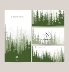 Business cards design set of green forest and vector image vector image