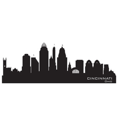 Cincinnati Ohio skyline Detailed silhouette vector image vector image