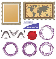 postage stamps set vector image vector image