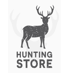 vintage logo hunting and shooting store vector image vector image