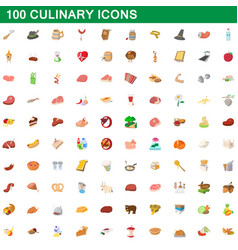 100 culinary icons set cartoon style vector image