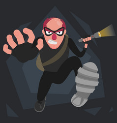 a picture of a balding thief in a mask that runs vector image