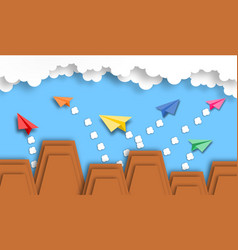 abstract cloud and paper plane with mountain vector image