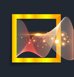Abstract gold wave in square vector