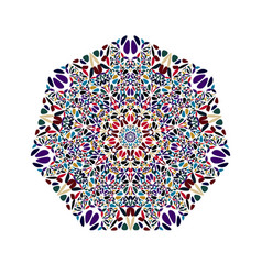Abstract isolated ornate colorful floral heptagon vector