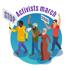 Activists march round design concept vector