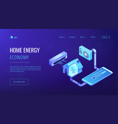 Air conditioning concept isometric 3d landing page vector