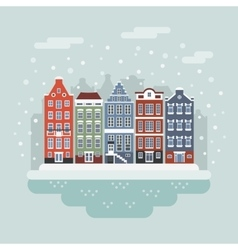 Amsterdam winter city scene vector image
