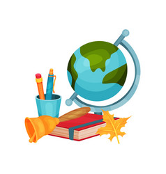 back to school elements earth globe cup vector image