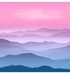 Background with mountains in fog vector