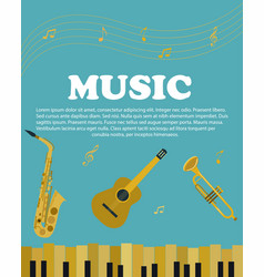 banner with musical instruments piano saxophone vector image