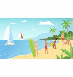 beach vacation summertime young people with vector image
