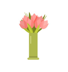 beautiful pink spring flowers tulip bouquet in vector image