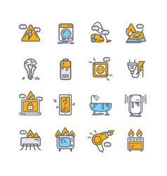 broken appliances color thin line icon set vector image
