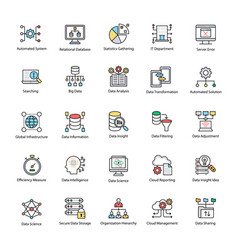 Bundle of data science flat icons vector