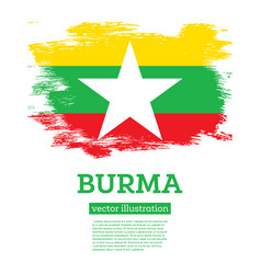 burma flag with brush strokes independence day vector image
