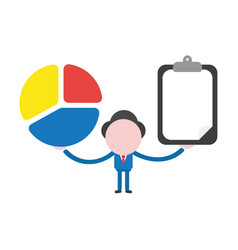 businessman character holding three parts diagram vector image