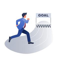 businessman running towards goal concept vector image