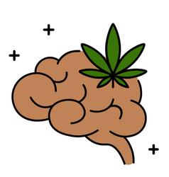 cannabis marijuana or weed and brain vector image