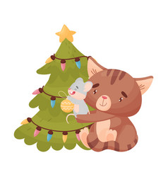 Cartoon mouse and cat decorate christmas tree vector