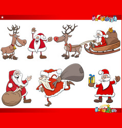 Cartoon santa claus christmas holidays characters vector