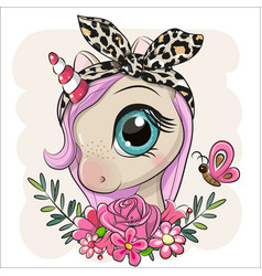 Cartoon unicorn with flowers on a beige background vector