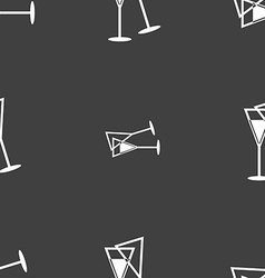 champagne glass icon sign Seamless pattern on a vector image