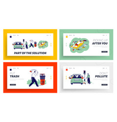 Characters throw garbage on street landing page vector