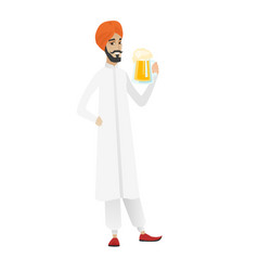 Cheerful hindu farmer drinking beer vector