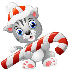 Christmas cat with candy cane vector