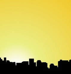 City contour against the coming sun vector image