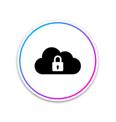 cloud computing lock icon isolated on white vector image