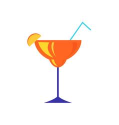 cocktail with piece lemon or orange citrus vector image
