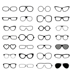 Collection various styles fashion glasses solid vector