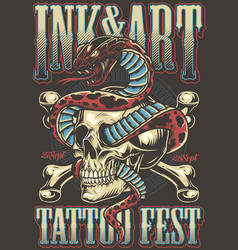 Colorful tattoo festival poster vector