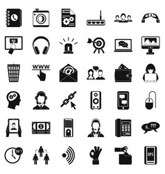 contact mail icons set simple style vector image