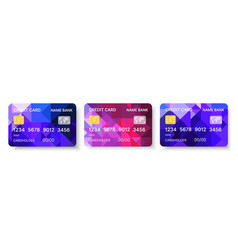 credit cards set multicolor template with vector image