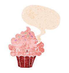 Cute cartoon frosted cupcake and speech bubble in vector