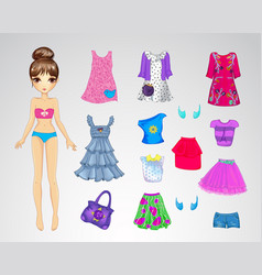 Cute Casual Paper Doll vector