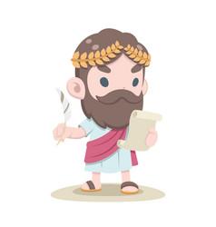 Cute greek scholar reading document vector