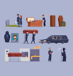 Death ceremony burial dying people big loss vector