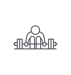 exercises with a barbell line icon concept vector image