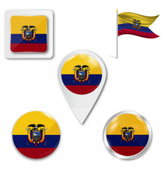 Flag ecuador with coat arms accurate vector