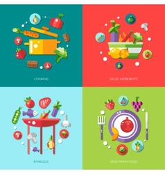 flat design food fruits and vegetables icons co vector image