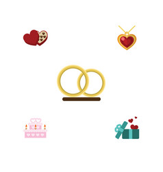 Flat icon heart set of patisserie necklace vector