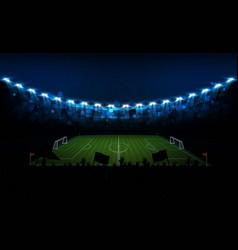 Football arena field with bright stadium lights vector