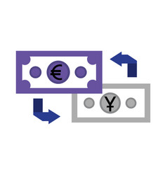 foreign exchange money banknote yen euro transfer vector image