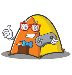 Gamer tent character cartoon style vector